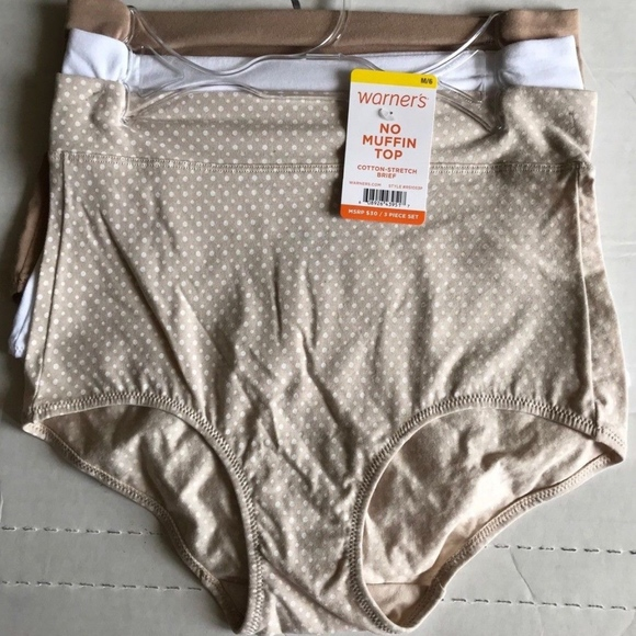 3 Pack Cotton Stretch Panties Brief Size S 5 No Muffin Top Warner/'s MSRP $30